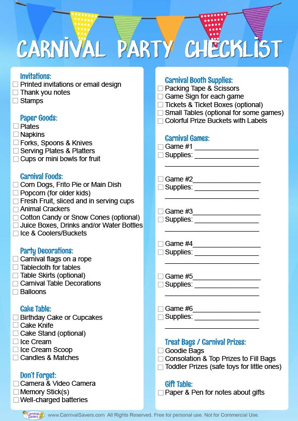 birthday cheque template - carnival birthday party checklist