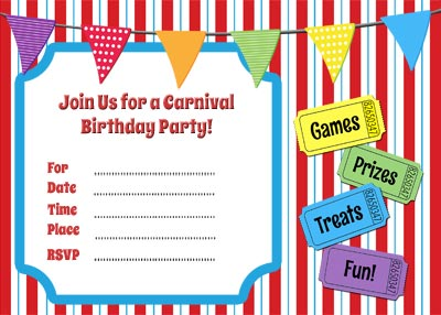 Free Carnival Themed Printable Invitation – Free Printable Carnival Birthday Invitations
