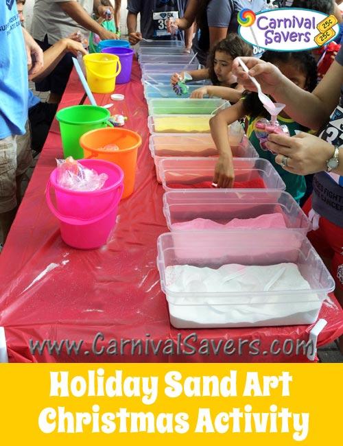 winter or christmas carnival activity sand art fun